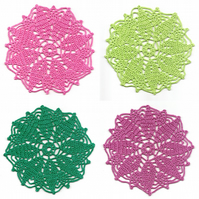 Set Of 4 Crochet Doilies Cotton Doily Kitchen & Home Decor Eco Friendly Linens