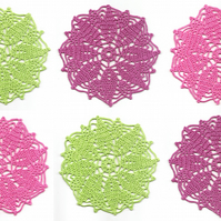 Set Of 6 Crochet Doilies Cotton Doily Kitchen & Home Decor Eco Friendly Linens
