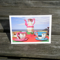 Teacup ride greetings card