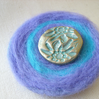 Blue & Lilac Felted Button Corsage