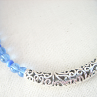 Sale - Silver Spiral Bar Necklace In Blue