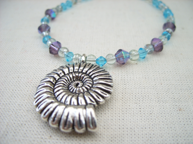 SALE Ammonite Lilac and Blue Necklace