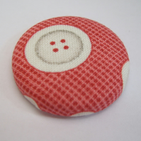 'Cute As A Button' Fabric Badge