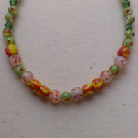 SALE Lime Green Glass Bead Necklace