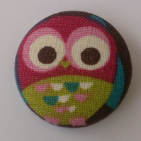 Fabric Covered Big Owl Badge
