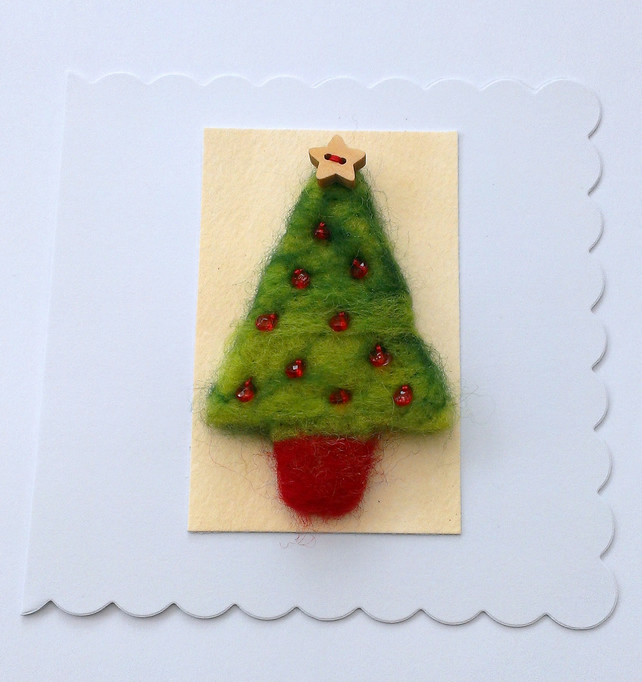 Sale christmas card needle felted christmas tree folksy for Christmas sale items