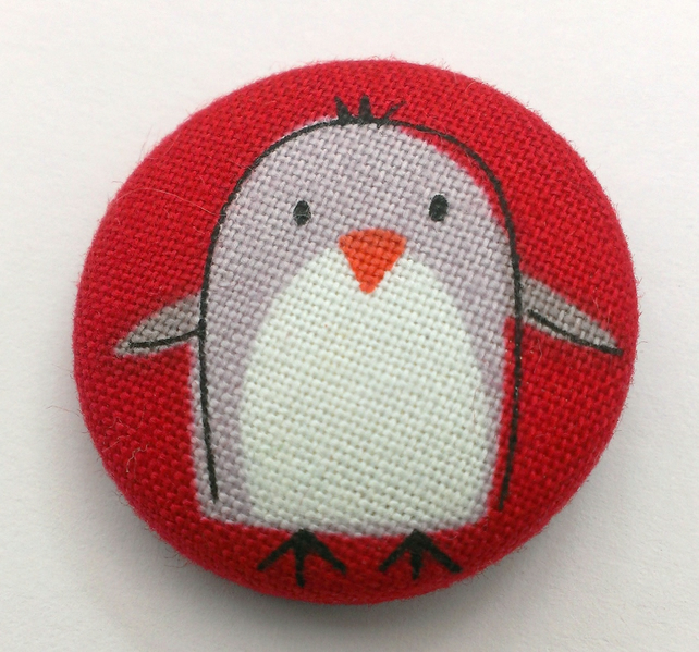 Christmas Penguin Fabric Badge Brooch