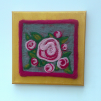 SALE Needle Felted Antique Rose Picture