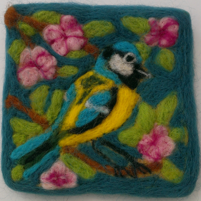 Needle Felted Blue Tit & Cherry Blossom Picture