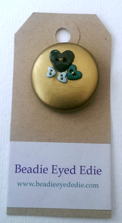 Gold & Green Button PVC Badge