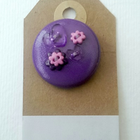 Purple Hearts & Flowers Button PVC Badge