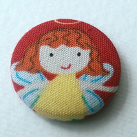 SALE Christmas Angel Fabric Badge Brooch