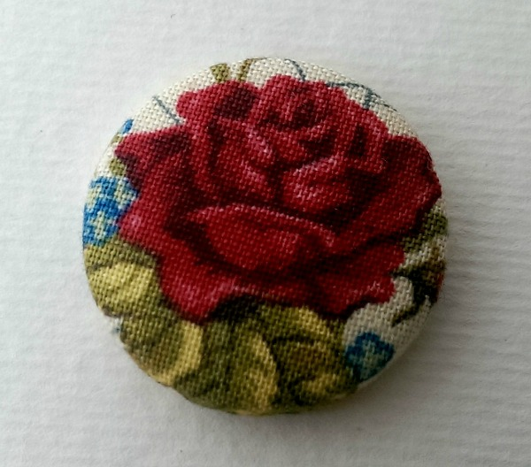 Vintage Red Rose Fabric Badge