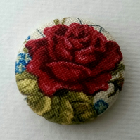SALE Vintage Red Rose Fabric Badge