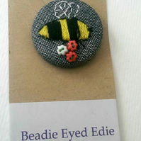 Hand Embroidered Bee Badge