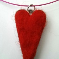 Sale Needle Felted Red Heart Necklace