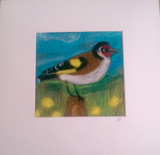 Goldfinch & Dandelion Needle Felted Picture