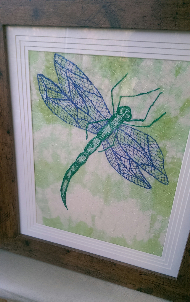 Dragonfly Machine Embroidered Picture