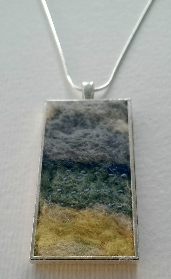 Seascape Needle Felted Art Pendant