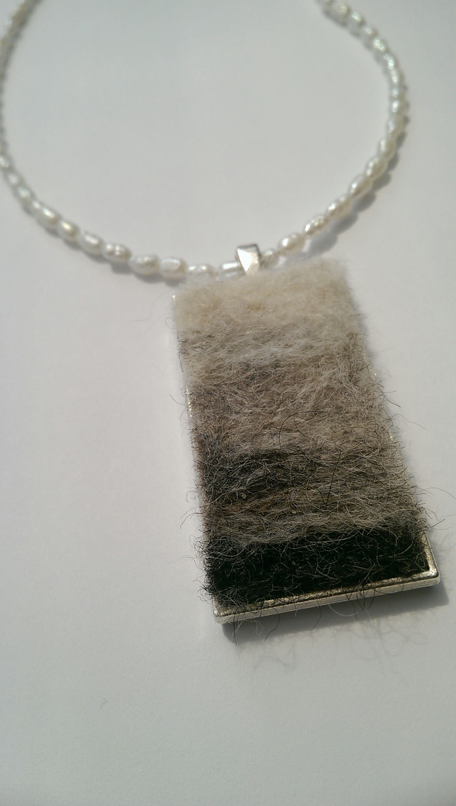 Needle Felted Pendant Freshwater Pearl Necklace