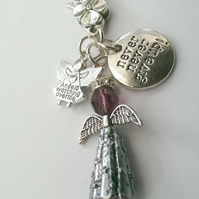 Guardian Angel Bag Charm 'Never Never Give Up!'