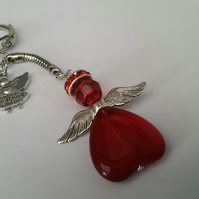 SALE Guardian Angel Keyring In Red