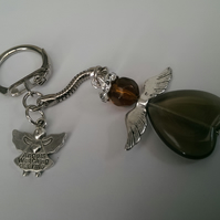 SALE Guardian Angel Keyring In Brown
