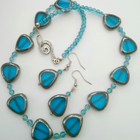 SALE Turquoise Stained Glass Style Necklace & Earring Set