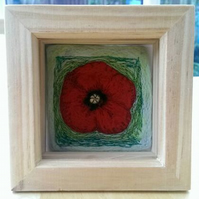 Poppy Needle Felted & Machine Embroidered Picture