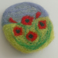 Poppy Field Needle Felted Brooch