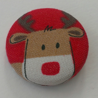 Red Nose Reindeer Christmas Fabric Badge