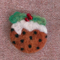 Christmas Pudding Needle Felted Brooch