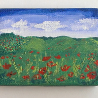 Poppy Field Miniature Original Acrylic On Canvas Painting