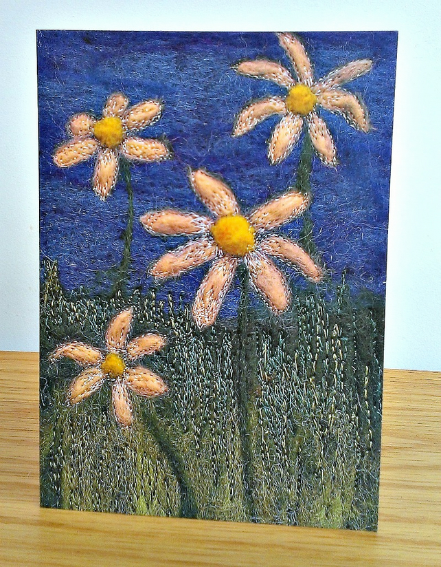 Daisy Greeting Card Image From Original Textile Art