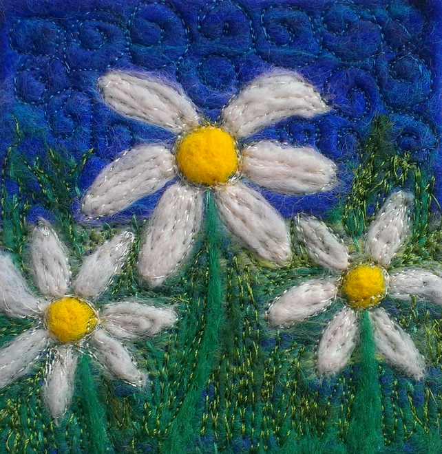 Daisy Daisy Felted & Machine Embroidered Picture