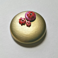 Gold & Pinks Button PVC Brooch