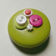 Green & Pink Button PVC Badge