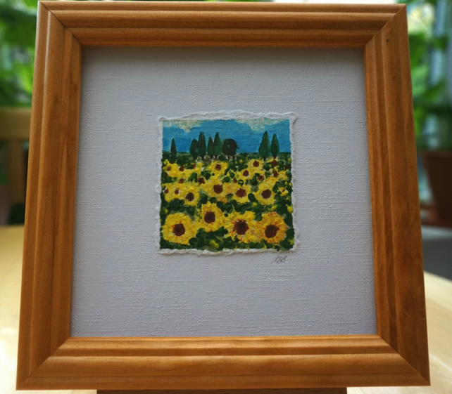 Miniature Acrylic Sunflower Painting