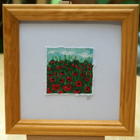 Miniature Acrylic Poppy Field Painting