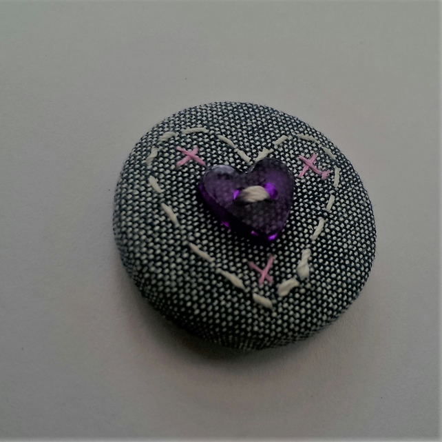 SALE Hand Embroidered Heart Badge Brooch
