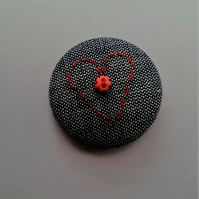 Hand Embroidered Heart Badge Brooch