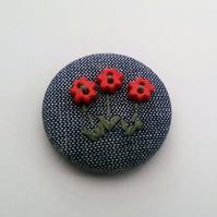 SALE Hand Embroidered Posy Flower Badge Brooch