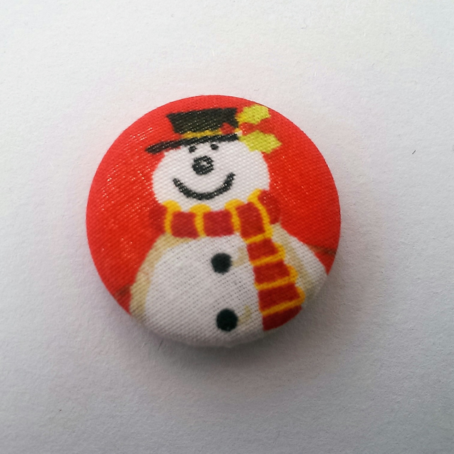 Christmas Snowman Fabric Badge