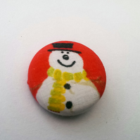 SALE Christmas Snowman Fabric Badge