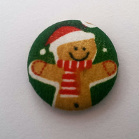 Christmas Gingerbread Man Fabric Badge (Green)