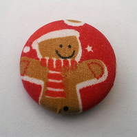 SALE Christmas Gingerbread Man Fabric Badge (Red)