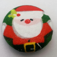 SALE Christmas Father Christmas Fabric Badge (Holly)