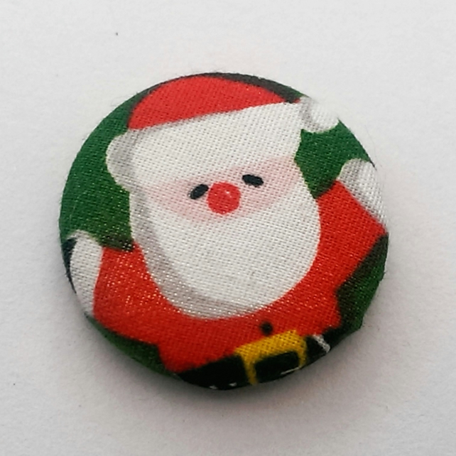 Christmas Father Christmas Fabric Badge (Green)