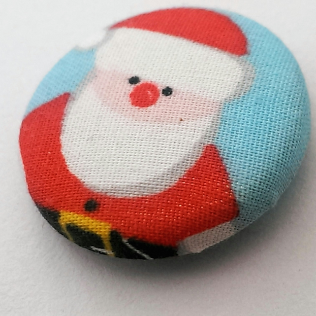 Christmas Father Christmas Fabric Badge (Blue)