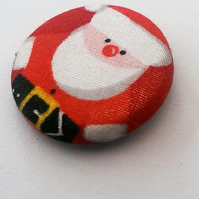 Christmas Father Christmas Fabric Badge (Red)